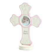 Nat and Jules Baby's Baptism Cross Frame, Pink