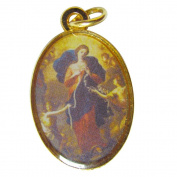 Blessed By Pope Francis Mary Undoer of Knots Maria Desatanudos Gold Tone Full Colour Medal