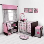 Elephants Pink/Grey 10 pc crib set including Bumper Pad