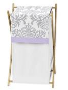 Baby/Kids Clothes Laundry Hamper for Lavender, Grey White Damask Print Elizabeth Bedding Collection