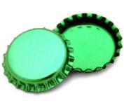 50 Green Metallic Bottle Caps Shiny Colours Craft Linerless