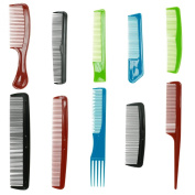 10pc Plastic Hair Combs - Variety Pack - Great for All Hair Types & Styles