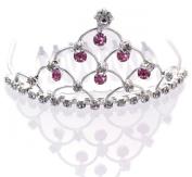 Mini Tiara Hair Comb Dangling Pink Crystals Flower Girl Ballerina Princess Crown Comb