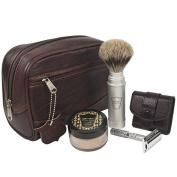Parker Travel Shave Kit - Includes Parker Safety Razor's Dopp Bag, Travel Safety Razor, Travel Shave Brush and Travel Shave Soap