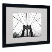 Trademark Fine Art NYC Brooklyn Bridge Artwork by Nina Papiorek in Black Frame, 41cm by 50cm