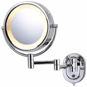 See All HLCSA895D Halo Lighted 20cm Diameter Wall Mounted Make Up Mirror 5X Direct Wire, Chrome