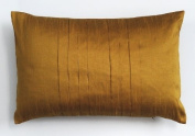 Dreamhome - Solid Faux Silk Pleated 30cm X 46cm Decorative Pillow Cover - Brassy Gold
