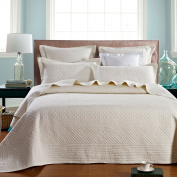 Saint Ivory Luxury Pure Cotton Quilt By Calla Angel, Ivory, Queen Size