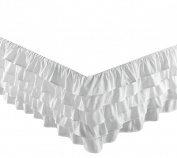 Chezmoi Collection Ella 38cm Drop Multi Ruffle Bed Skirt, White, Queen