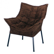 Casual Home Milano Metal Chair, Black Metal Frame with Brown Outer Cover