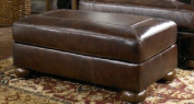 Axiom brown leather ottoman