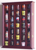 31 Shot Glass Shooter Display Case Holder Cabinet Wall Rack -Cherry