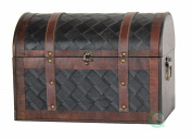 Quickway Imports Wooden Leather Treasure Chest