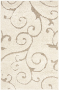 Safavieh Florida Shag Collection SG455-1113 Cream and Beige Shag Area Rug, 2.4m by 3m