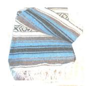 Light Blue Falsa Mexican Yoga Blanket Large 2.1m/1.5m