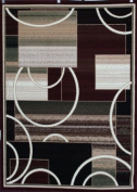 Generations Brand New Contemporary Modern Square and Circles Area Rug, 2.7m x 3.7m, Red/Burgundy