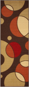 Rubber Collection Circles Brown Printed Slip Resistant Rubber Back Latex Contemporary Modern Area Rugs and Runners (1008) (2x 5