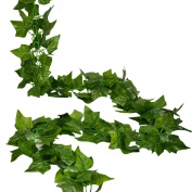 RURALITY 2.4m Artificial Silk Greenery Chain Ivy Wedding Garland ,Sweet Potato Leaf Pack of 2