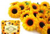 (100) Silk Yellow Sunflowers sun Flower Heads , Gerber Daisies - 3.8cm - Artificial Flowers Heads Fabric Floral Supplies Wholesale Lot for Wedding Flowers Accessories Make Bridal Hair Clips Headbands Dress