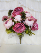 Sweet Home Deco 46cm Super Soft Blooming Peonies and Hydrangeas Silk Artificial Bouquet (13 Stems/6 Flower Heads)