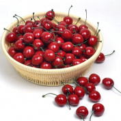 Moving Box 50pcs Artificial Lifelike Simulation Small Red Cherries Set Decoration Fake Fruit Home House Kitchen Decor