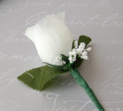 White Rose Boutonniere with Pin for Prom, Party, Wedding