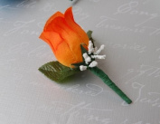 Orange Rose Boutonniere with Pin for Prom, Party, Wedding