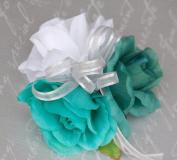 Teal White Jade Rose Wrist Corsage