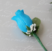 Turquoise Rose Boutonniere with Pin for Prom, Party, Wedding