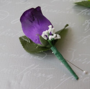 Purple Rose Boutonniere with Pin for Prom, Party, Wedding