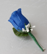 Royal Blue Rose Boutonniere with Pin for Prom, Party, Wedding
