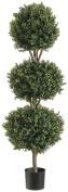 Silk Decor 1.2m Tri Ball Boxwood Topiary Plant, Green/Two-tone