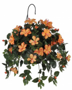 House of Silk Flowers Artificial Hibiscus Hanging Basket, Sunset Orange