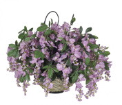 House of Silk Flowers Artificial Wisteria Hanging Basket, Purple