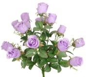43cm Elegant Raindrop Rose Bush Silk Flowers Wedding Bouquet Lavender 989