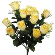 43cm Elegant Silk Roses Wedding Bouquet Yellow #23