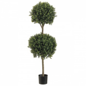 1.2m Double Ball-shaped Boxwood Topiary in Plastic Pot Two Tone Green