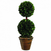Silk Decor Preserved Boxwood Double Ball Topiary, 47cm , Green