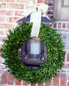 Garden Variety Boxwood Wreath with Burlap Hanger -60cm
