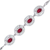 Stunning 4.00 Ct Created Ruby Sterling Silver 18cm Bracelet With 2.5cm Extender
