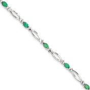 Sterling Silver Emerald and Diamond Bracelet
