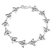 Bling Jewellery Triquetra Celtic Trinity Knot 925 Silver Link Bracelet 18cm