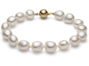 HinsonGayle AAA GEM Collection 10-11mm Ultra-Iridescent White Free-Form Baroque Freshwater Cultured Pearl Bracelet