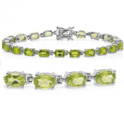 10ct tgw Peridot Tennis Bracelet in Sterling Silver 18cm