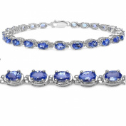 Genuine Tanzanite Tennis Bracelet Crafted in Sterling Silver