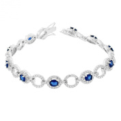.925 Sterling Silver White Blue Sapphire-Tone Crystals CZ Classic Womens Tennis Bracelet