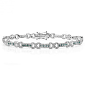 0.55 Carat (ctw) Sterling Silver Round Blue Diamond Ladies Infinity Tennis Link Bracelet 1/2 CT