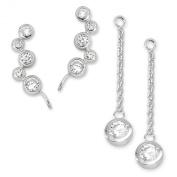 The Ear Pin Cubic Zirconia Interchangeable Enhancer Silver Bubble Earrings
