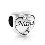 925 Sterling Silver Heart Love Nana Bead Charm