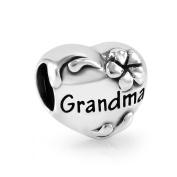 925 Sterling Silver Heart Flower Love Grandma Bead Charm